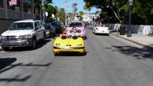 Funny car on road - holiday trip
