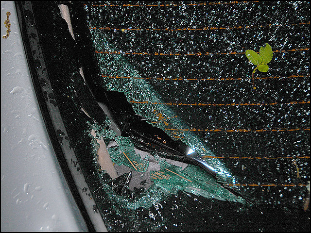Windshield broken by hail storm - auto insurance claim
