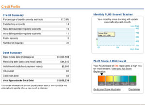 Credit score report screenshot