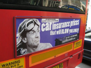 Advertising for car insurance quotes on bus - with iggy pop